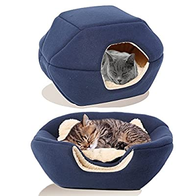 PREMIUM Pet Bed/Cave, Cat Bed and Cave, Small Dog Bed, 2-in-1 foldable, soft, warm, washable pet bed with a pillow.