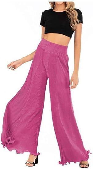 cheelot Womens Slim Straight Draped High Waist Casual Leisure Leg Pants