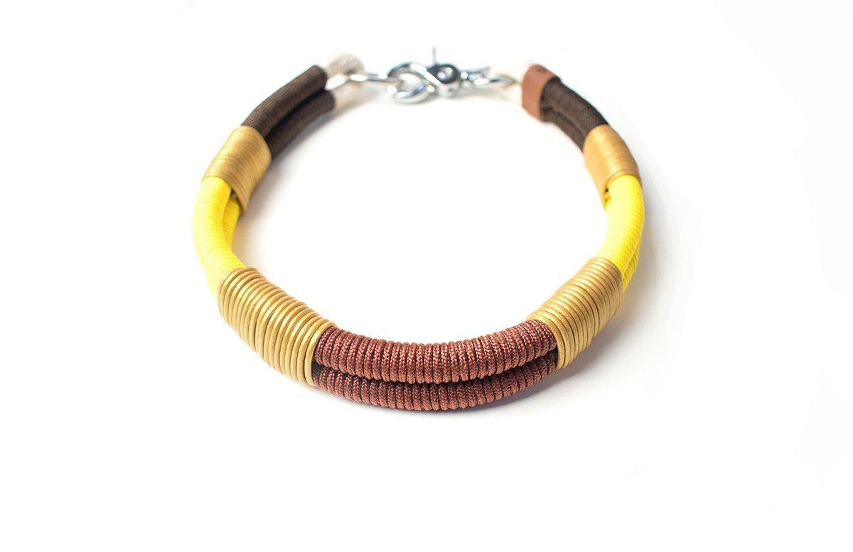 *Sunny* Halsband mit Leder-Highlights & pflegeleichtem Paracord von GOLDEN PAW (Scherenkarabiner & maßgeschneidert)