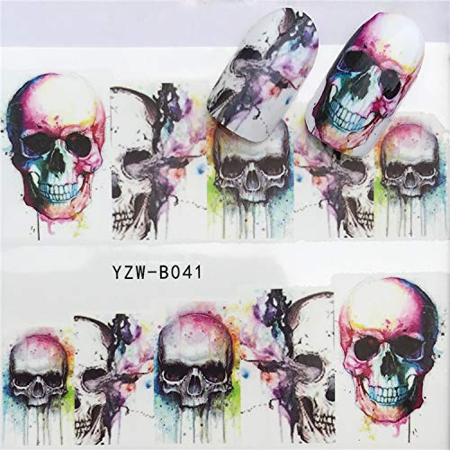 1 Pcs Skull Halloween Plant Nail Sticker Water Decals Women White Flower Cat Butterfly Transfer Nail Art Decoration Light Green -