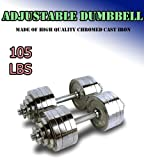 New Pair 105 lbs Adjustable Chrome Dumbbells Weight Set 52.5 lbs Dumbbell x 2pcs