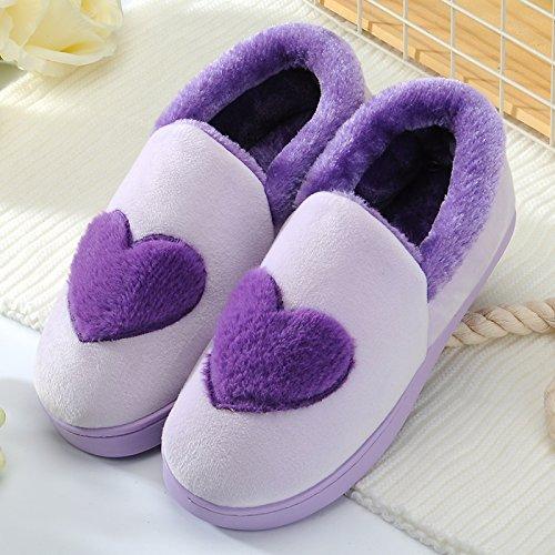 Y-Hui inverno cotone maschio pantofole in casa arredamento interno femmina scarpe caldo inverno di spessore non inferiore di slittamento paio di stivali,42-43 (Fit per 41-42 piedi),Viola (Amore)