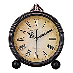 Classic Retro Antique Design European Style Decorative Alarm Clock Quartz Movement Battery Operated Analog Large Numerals Bedside Table Desk Alarm Clock, HD Glass Cover, Easy to Read(Roman,Retro)