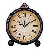 Diseño clásico antiguo retro de estilo europeo reloj despertador movimiento funciona con pilas Analog Cuarzo Números Grandes Mesilla Desk Reloj despertador, HD cubierta de vidrio decorativos, fácil de leer, Antiguo, Roman Numeral Retro