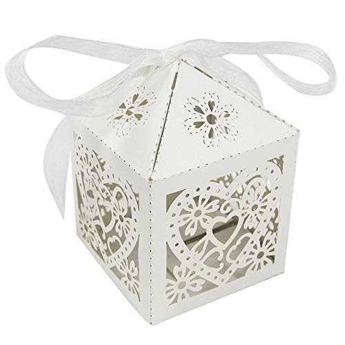 UNIQLED Pack of 60 Love Heart Laser Cut Wedding Party Favor Box Candy Bag Chocolate Gift Boxes Bridal Baby Shower Cubic with Ribbons (White)