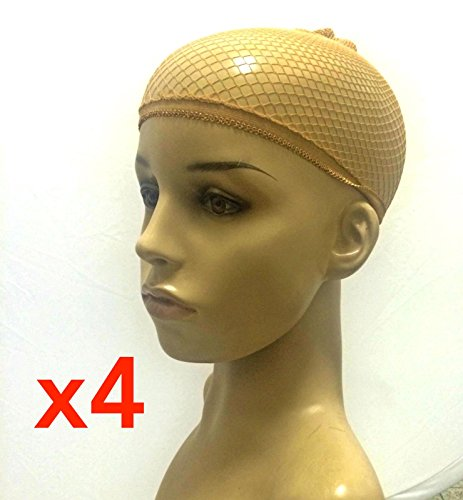 Stock Mesh (4 Pcs Unisex Stock Mesh / Net Wig Cap Hat Nylon Stretch Elastic Snood - Neutral Nude Beige (4Pcs Mesh/Net Beige))