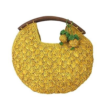 Mar Y Sol Isla Crochet Raffia Clutch w Pineapple Charm, Sunflower