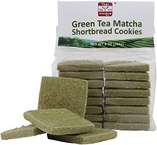 Teas Unique Green Tea Matcha Shortbread Butter Cookies, 8 Ounce