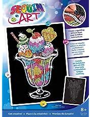 Mamut 8041305 - Sequin Art paillettenafbeelding ijsbeker, steekafbeelding, knutselset met piepschuim-frame, fluweelzachte afbeelding, pailletten, steekstiften, handleiding, voor kinderen vanaf 8 jaar