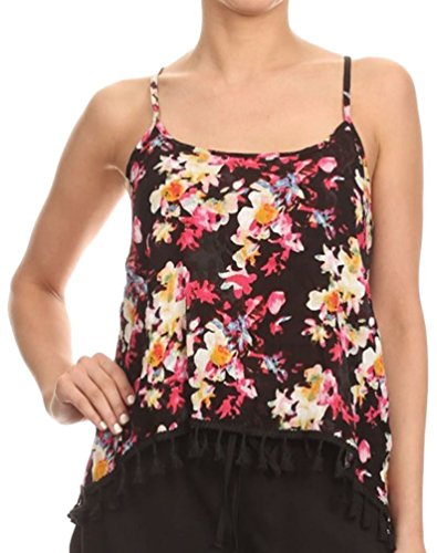 Simplicity Women's Printed Adjustable Spaghetti Strap Cami Top Tassel Trim,Multi ()