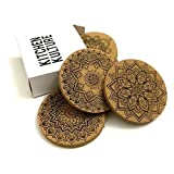 Kitchen Kulture Cork Coasters for Drinks, Set of 8, Round 4 inches, Absorbent, Protects Furniture, Pattern Designs: Fractal / Geometric/ Mandala, Bar Size, Eco Material, Perfect for Holidays