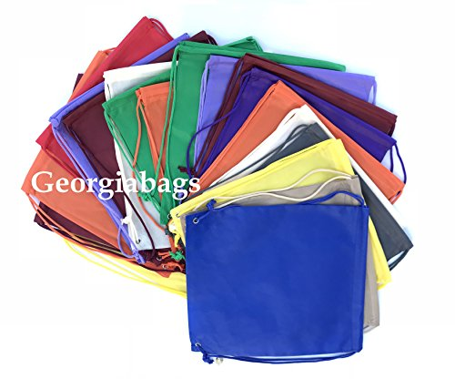 Value Pack- Set of 100 Assorted Mix Color Non-Woven Backpack,Drawstring Bags, Small Size Junior Cinch Packs by Georgiabags