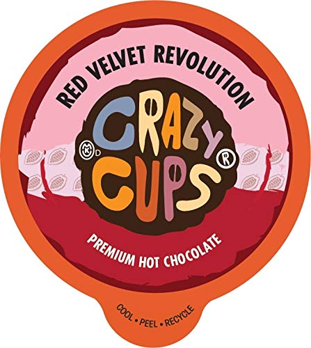 Coffee Cupcake - Crazy Cups, Red Velvet Revolution Premium Hot Chocolate Single Serve Cups for Keurig K-Cup Brewers, 22 count