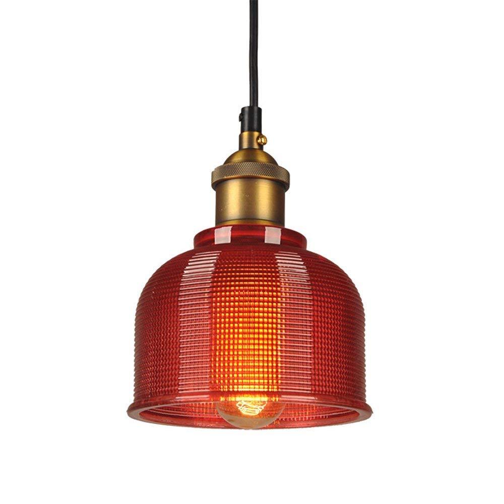 ZLHW Industrial Vintage 15cm Glass Lampshade Pendant Light E27 Retro Loft Ceiling Lamp Suspension Lighting (Color : Red)