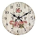 Vintage Wall Clock Rustic Shabby Chic Home Kitchen Wooden 30cm Decor #5