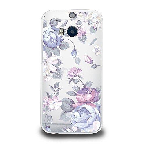 Purple Hard Plastic Case - CasesByLorraine Hard Plastic Case for HTC One M8, Purple Floral Flower Matte PC Case Transparent Plastic Cover for HTC One M8 2014 (I33)