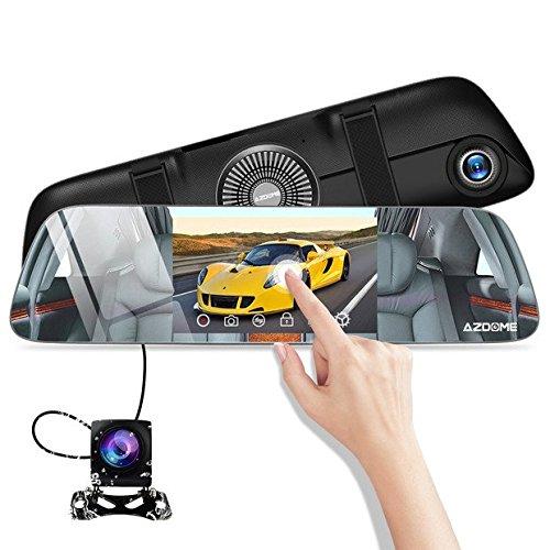 Auto Kamera Rü ckspiegel 5, 5〃Streaming Dashcam Touchscreen IPS 1080p Dashcam Unterstü tzt GPS Modul (extra) mit Nachsicht(Starlight), 720p Rü ckfahrkamera, 170° Weitwinkel Vorne und 120° Hinten AZDOME PG01