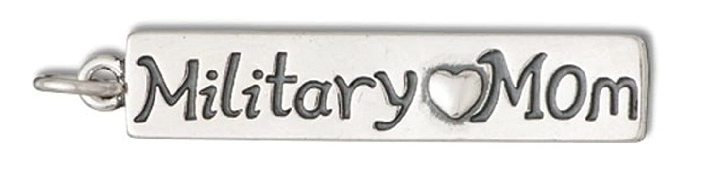 Sterling Silver 7 4.5mm Charm Bracelet With AttachedMILITARY MOM Word Charm With Heart