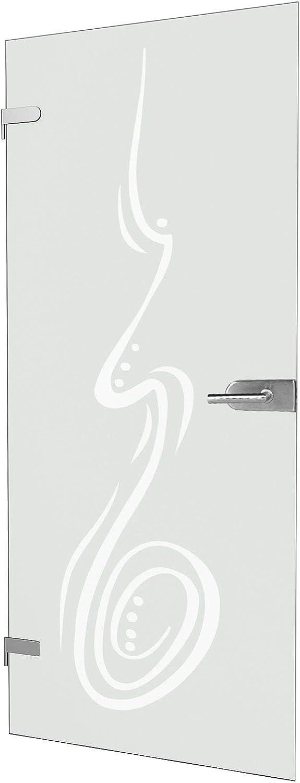 """Studio-Beschlag /""""05/"""" Komplettset 834x1972x8mm Curved satiniert Echt-Glas Glas-T/ür inova Glas-Dreht/ür DIN Links rechts"""