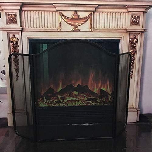 暖炉用品 アクセサ ブラック3パネル暖炉スクリーン錬鉄、薪ストーブアクセサリー火スパークガードメッシュカバー