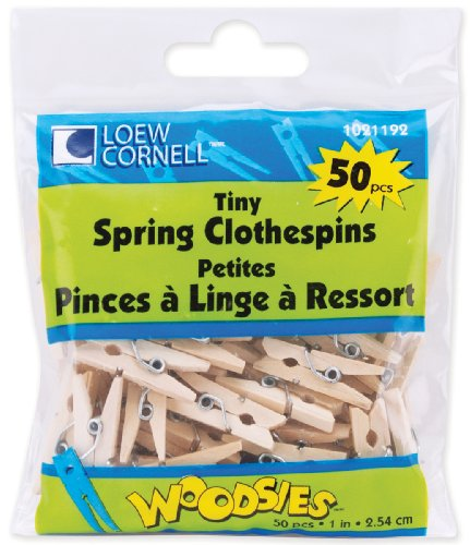 Loew-Cornell Woodsies Tiny Spring Clothespins, 1-Inch, Natural, 50-Pack (Small Clothes Pins)