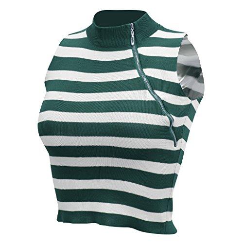 Flameer レディース タートルネック ノースリーブ ジッパー 編み カットソー ファッション 通気 全3色