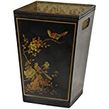 Tapered waste paper basket with punched handles. Finished in medium gloss black lacquer and hand painted with an authentic Ming era art design. The inside of the basket is lined with a distinctive Asian decoupage. Great for the office or an A...