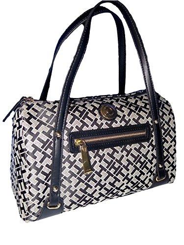 Tommy Hilfiger Black Logo Large Satchel Tote Handbag Purse