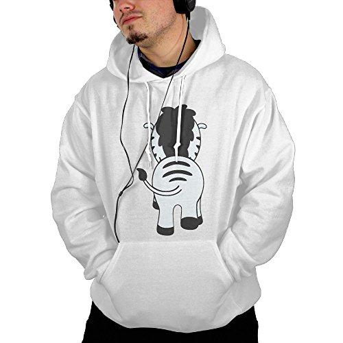 Dngnanxia Zebra Men's Adult Pullover Hooded Sweatshirt S White