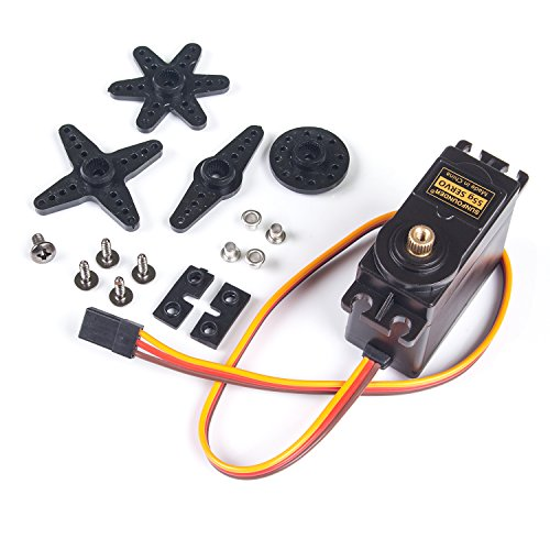 SunFounder Metal Gear Digital RC Servo Motor High Torque for Helicopter Car Boat Robot Arduino AVR Toys Drone Fix-Wing Airplane ()
