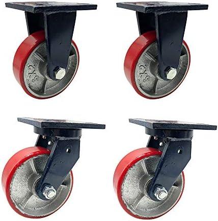 頑丈なキャスター、耐摩耗キャスター、サイレントキャスター、ポリウレタンキャスター、厚い鋼板、強くて耐久性があり、使いやすい(4インチ、5インチ、6インチ、8インチ)