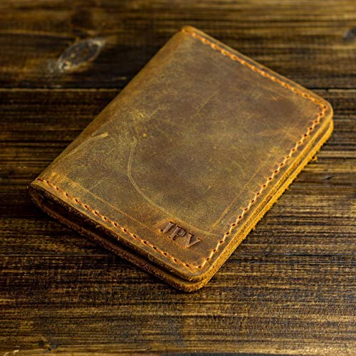Pegai Personalized Minimalist Bifold Wallet, Distressed Leather Wallet - Knox | Cinnamon Brown
