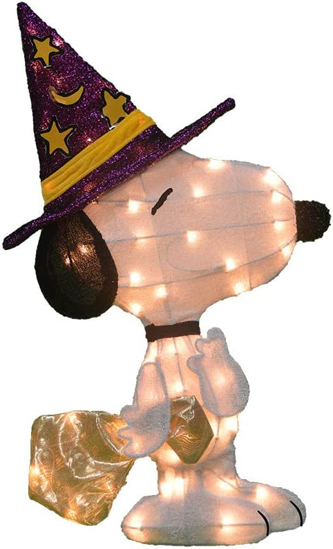 ProductWorks 46301_L2D Peanuts Snoopy in Witch's Hat 2 Dimensional Halloween Yard Art with 50 Lights Seasonal Décor