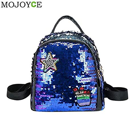 Image Unavailable. Image not available for. Color  Mini Shining Sequins  Backpack Teen Girls Travel Shoulder Bags for Children Female ... 1fe5ab3dafc00