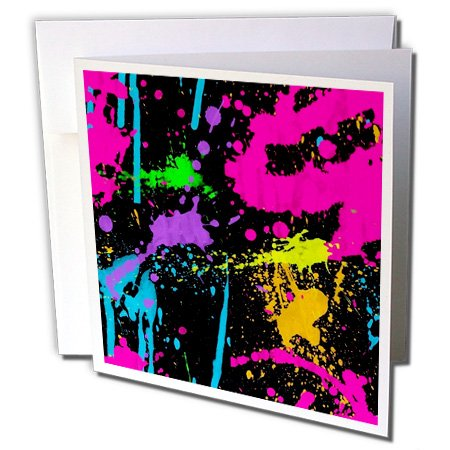 3dRose Greeting Cards, 6 x 6 Inches, Pack of 6, Print of Neon Paint Splatter on Black (gc_204178_1) -