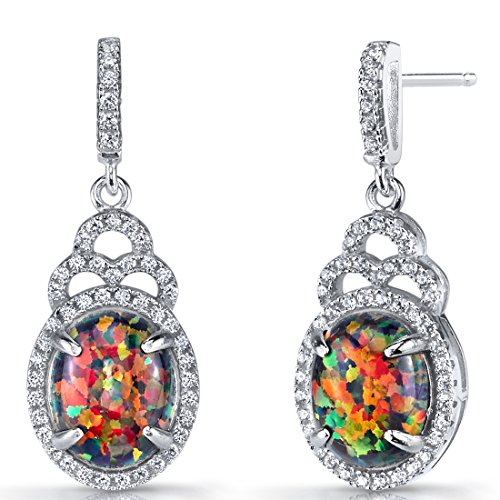 Created Black Opal Harlequin Dangling Earrings Sterling Silver 3 Carats ()