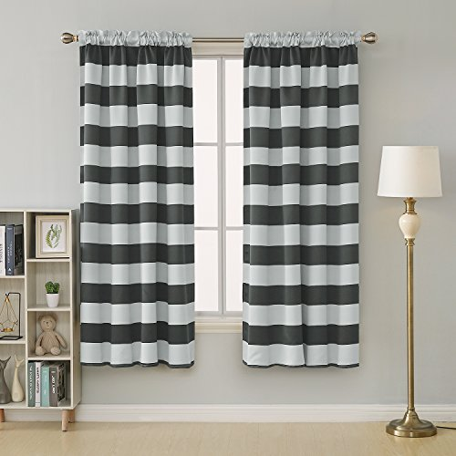 d Blackout Window Curtains Thermal Insulated Grey and Greyish White Striped Curtains for Bedroom 52W X 84L Gray 2 Panels ()