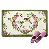 Hummingbird Floral Bath Accent Rug with Skid-Resistant Backing, Green, Machine Washable