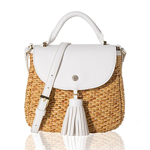 The Lovely Tote Co. Women's Straw Crossbody Bag Woven Cross Body Bag Shoulder Top Handle Satchel, Ivory ()