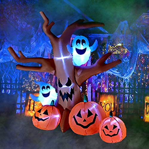 Airblown Halloween Inflatable Pumpkin Scene (SEASONBLOW 8 Ft Halloween Inflatable Dead Tree with Ghosts Pumpkins Decoration Blow up Airblown Decor for Lawn Patio Indoor Outdoor Home Yard)
