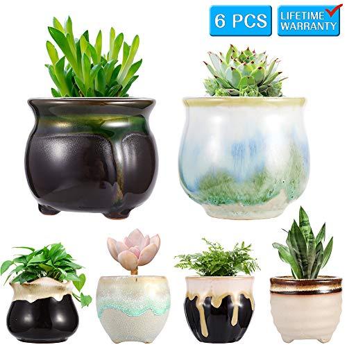 Planter Pots,Ceramic Succulent Mini Flower Pots Container Bonsai Planters Pots with Hole Flower Plant Pots Garden Planters Pots,Home and Office Decoration Desktop Windowsill Gift-Set of 6 ()
