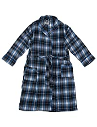 Bottoms Out Men's Black and Blue Plaid Flannel Bathrobe