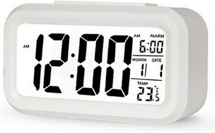 Generic Smart LED Backlight Digital Alarm Clock Snooze Mute Calendar Desktop Electronic Table Clocks (White)