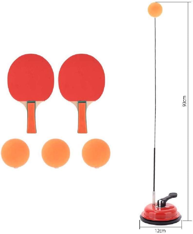 NEW ADAPT Entrenador De Tenis De Mesa Rebote Rápido Pingpong Flexible Práctica Auxiliar De Entrenamiento, Prevención De La Vista, Descompresión Ventosa Base de Hierro + Raqueta de Madera/Rojo