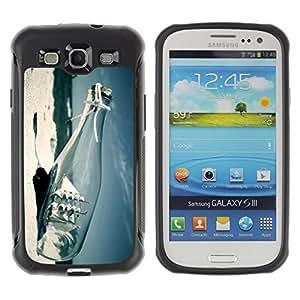 ZAKO Cases / Samsung Galaxy S3 I9300 / Ship In A Bottle Paradise Beach / Robusto Prueba de choques Caso Billetera cubierta Shell Armor Funda Case Cover Slim Armor