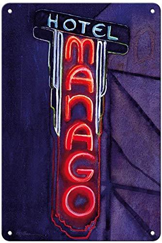 マナゴホテル 金属板ブリキ看板注意サイン情報サイン金属安全サイン警告サイン表示パネル