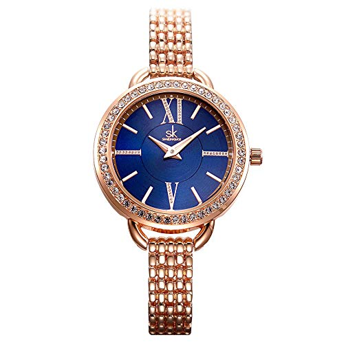 Women Easy Reader Date Expansion Watch Ladies Quartz Clock Female Bracelet Quartz Wrist Watch (0089 Rose Gold) ()