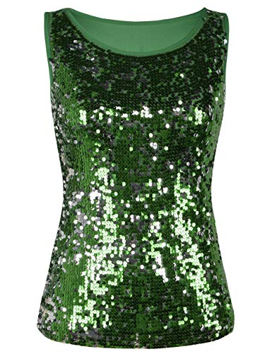 kayamiya Wonmen Sparkly Sequin Embellished Sleeveless Party Tops Green S/US 0-2