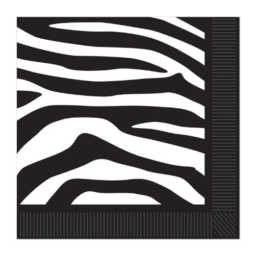 Zebra Print Beverage Napkins (2-Ply) Party Accessory  (1 count) (16/Pkg) ()