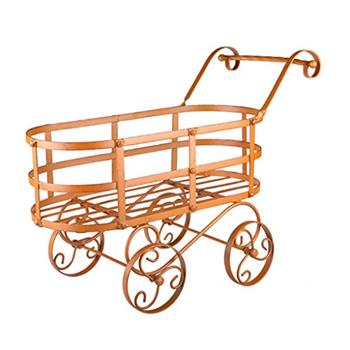 (Creative Personalized Villa Garden Balcony Decorative Wrought Iron Flower Cart Frame with wheels Can Be Moved)